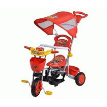 Triciclo Cars Disney Con Respaldo Toldo Y Apoyapies