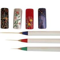 Set De 3 Pinceles Liners Finitos Trazos Largos Nail Art Deco