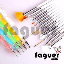 Kit 15 Pinceles + 5 Dotting Para Decoracion Uñas Nail Art