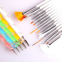 Pack 15 Pinceles + 5 Dotting Para Decoracion Uñas Nail Art