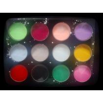 Polimero Color X12 Con Y Sin Glitter Uñas Acrilicas Nail Art
