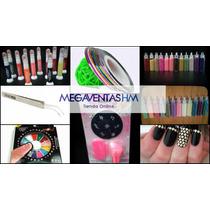 Set Stamping Uñas+tachas+liner+caviar+glitter+pinza+cintas