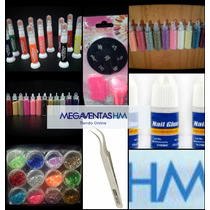Combo Esmaltes+stamping+accesorios Caviar Glitter Uñas
