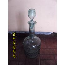 Botellon Antiguo En Vidrio Celeste Con Tapon