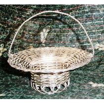 Antigua Canastilla Italiana Metal Plateado Trenzado