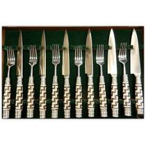 Juego De Cubiertos -cuchillos Asado 6 Comensales Cuero Crudo