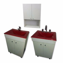 Vanitory Mueble Con Bacha Maral Rojo Baño Patas Regulables