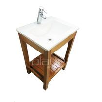 Vanitory Color Miel C Deck Madera Maciza Bacha Blanca 52 Cm