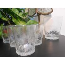 6 Vasos De Whisky C/hielera Cristal Tallado Impecables