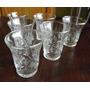 Juego De Seis 6 Vasos De Cristal Tallado Para Licor