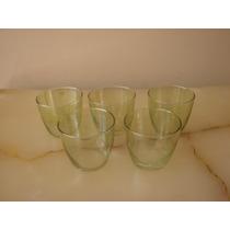 5 Vasos De Vidrio Color Verde Agua Para Licor Y/o Jerés