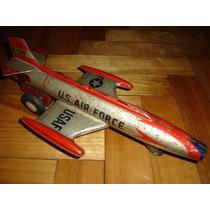 Antiguo Avion De Chapa, Hojalata, Metal Litografiado Japones