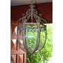 Lámpara P/colgar Oval Chapa De Hierro C/vidrio