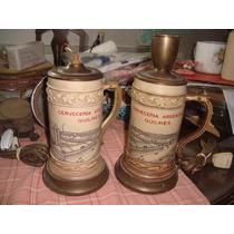 Antiguos Veladores Quilmes Par Jarra Chop Cerveceria Fabrica
