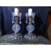 2 Veladores Lamparas Vidrio Caireles Cristal 30 Cm Alto $900