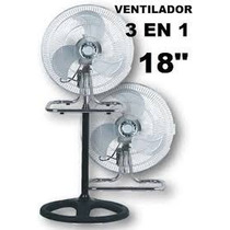 Ventilador 3 En 1 - Pie, Turbo Y Pared - Paleta Metalica