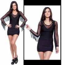 Vestido Negro 2015 (lycra Con Flecos En Las Mangas)