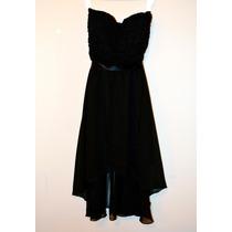 Hermoso Vestido De Fiesta Asimétrico Encaje Y Gasa, Negro S