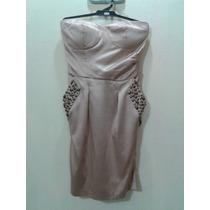 Delicadisimo Vestido Strapless De Raso Color Dorado !!
