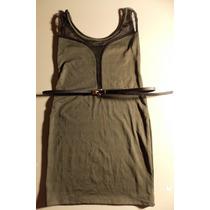 Vestido Corto Verde Lycra Microtul Transparencia + Cinturon!