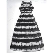 Vestido Largo Sin Mangas Batic Negro Con Tajos Nuevo Talle L
