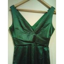 Vestido Rasado Verde Muy Elegante Talle S-m. Ecelente Estado