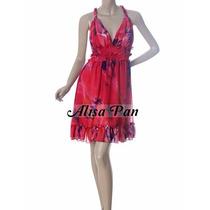 Vestido Corto Gasa Forrada Informal Fiesta Rojo Estampado L