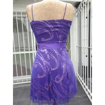 Vestido Corto De Fiesta Violeta Estampado Con Rosa