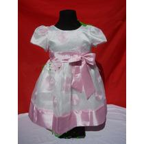 Vestidos Fiesta Nena Rosa Blanco Con Circulos Mangas Cortas