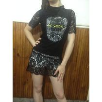 Vestido De Encaje Forro Algodon Estampa Tigre Remera Larga