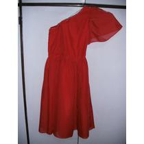 Vestido De Fiesta Rojo Gasa Forrado. 15 Años