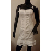 Vestido De Jean Elastizado Blanco Importado Talle Medio