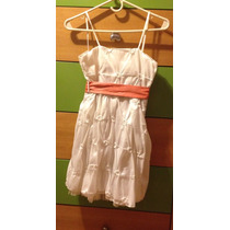 Vestido Fiesta Nena 6-7 Años Aprox. Blanco Con Lazo.