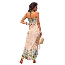 Vestido Largo Seda Fria Importado Mujer Playa Strapless