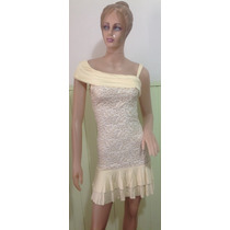 Vestido Modal Encaje, Ideal Evento De Día Talle L Como Nuevo