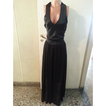 Vestido Largo De Raso Y Gasa Con Transparencia T L $ 700