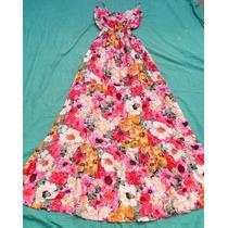 Vestido Largo Floreado Con Breteles Nuevo Talle S - M