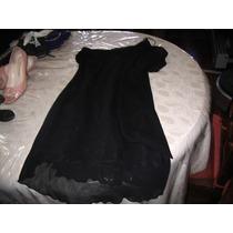 Vestido Fiesta Negro Corto Gasa Organza Un Hombro Con Chalin