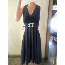 Vestido De Noche Crepe De Jersey Con Recorte T X Xxl $ 750