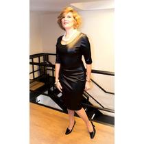Vestido Jackie En Cuerina Sintética Italiana Con Mangas 3/4