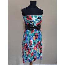 Vestido /pollera Retro Floreada Tablas (cinturon No Incluido