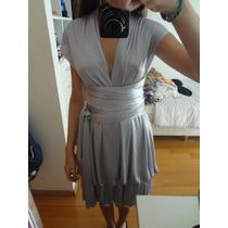 Hermoso Vestido Las Pepas Plateado, Regulable