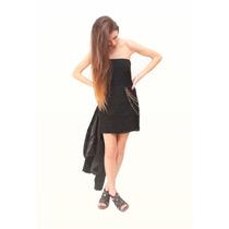 Vestido De Tul Drapeado - Viuda Negra - Diseño De Autor