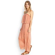 Vestido De Gasa Plisada Color Salmon Forever 21 - Talle M