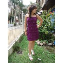 Vestido Strapless Fiesta Corto Encaje Purpura Talle S