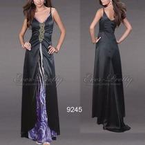 Elegante Vestido Negro Cola Estampado Importado Moda Pasión