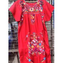 Vestido Mexicano Largo Bordado De Flores