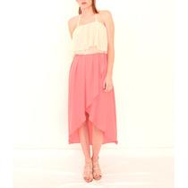 Vestido Combinado Crepe Georgette/gasa - Falda Tipo Pétalo