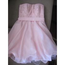 Vestido De Fiesta Rosa Ideal Bat, Para 12 /15 Años Bordado