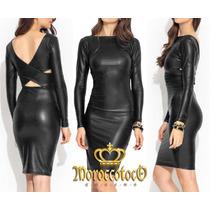 Vestido Negro Simil Cuero Sexy Importado